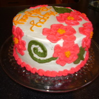 Brushed Embroidery Hibiscus Cake   Buttercream, with brush embroidered flowers, leaves, and vines
