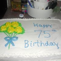 A Friends Dad Turned 75 sheet cake for a man's 75 th birthday.