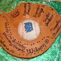 Detroit Tigers Baseball   Buttercream frosting baseball mitt with styrofoam/fondant ball