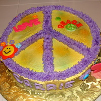 Peace Sign Cake Buttercream with fondant accents. Thank you Cake Diane for the inspiration. So fun to make!