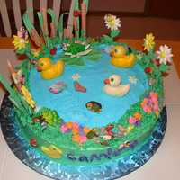 Pond   Buttercream with fondant accents