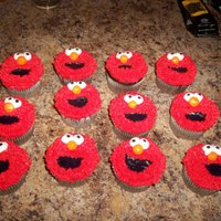 Elmo Cupcakes Triple chocolate cupcakes, with whipped icing, and buttercream accents(eyes, nose and mouth). A friend saw these and asked me to make them...
