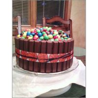 M & M With Kit Kat Chocolate Chip cake with Chocolate Frosting. Chocolate lovers dream!