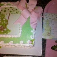 Baby Shower Cake   This WASC, BC iced cake was designed to match the invitations. Fondant accents and bow.