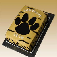"Graduation Cake Graduate is going to DePauw after high school so wanted the mascot tiger paw on the cake. ""Amazing Chocolate Cake"" recipe (posted..."