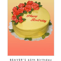 Yellow And Red Birthday Caek Quickie decorated birthday cake. Recipient loves red and yellow together. Roses are gumpaste painted with red gel color and vodka. After...