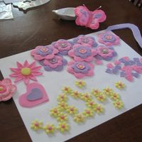 Decor For Hannah's Cake   gumpaste flowers hearts and butterfly