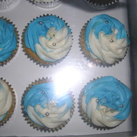 Blue And White Cupcakes done for a friend's husband's birthday.