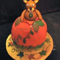 Rufus Pumpkin Fall Tailgate Cake  Made for our tailgate group at Ohio University. The bobcat is their mascot; his name is Rufus. His fangs looks a bit funny, but I did my...