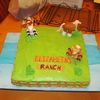 Horse Pasture Chocolate cake with chocolate pudding filling. BC Icing and Fondant horses and sign. Little girls loves horses.
