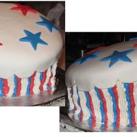 Happy 4Th!  I originally hoped to do a full topsy turvy cake, but ran out of time & energy, so here's one layer. My stripes are messy, but it...