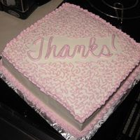 Thank You Cake A simple yellow cake to say thanks to my secretary for lots of OT, plus I wanted to try cornelli lace!