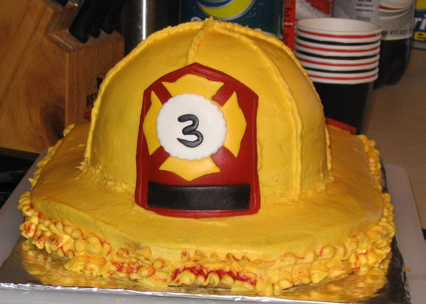 Yellow Firehat This was my first cake. My son wanted a firefighter theme for his birthday and I needed something other than a firetruck cake. So, Cake...