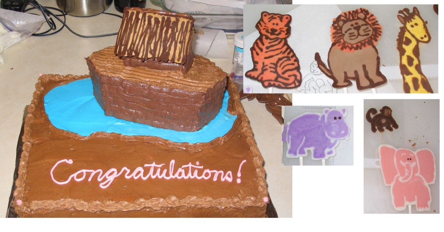 Noah's Ark  My second cake. I didn't get a final assembled shot because I transported it without the animals attached. My chocolate frosting was a...