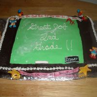Chalkboard Celebration Cake  Buttercream cake with fondant accents, chalkboard is dusted with confectionary sugar to look like it was recently erased. Made for my...