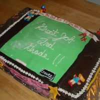 Chalkboard Celebration Cake  All buttercream devils food cake with fondant accents. Chalkboard is dusted with powdered sugar to make it look like it was recently erased...