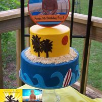 Surfing Themed Birthday Cake I made this cake for my son's birthday a couple weeks ago. I create invitations and wanted his cake to match the invitation I had...