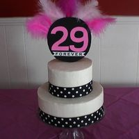"29 Forever - 29Th Birthday Cake - Polka Dots And Feathers I made this cake for my neighbors 29th birthday party. The theme for the party was ""29 Forever"". Bottom layer is Vanilla Cake and..."