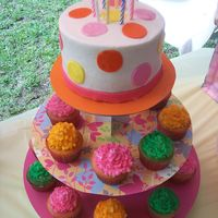 Polka Dot Cake And Cupcake Tower I made this cupcake tower for a friend of mine's little girl... It was her 10th birthday and she requested this cake after seeing the...