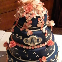 Pink And Navy Cake