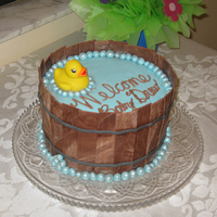 Duckie In A Barrel Baby Shower Cake Chocolate WASC with chocolate icing and MMF. Inspired by eor112