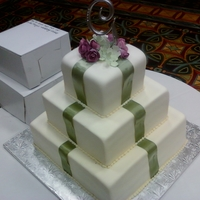 Wedding Cake WASC covered in fondant with gumpaste roses and hydrangea
