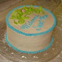 Sweet Pea Orange WASC with vanilla buttercream and fondant designs