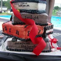 """twilight"" Book Series Cake.... This cake was more amazing in person than it is in a picture! My sister Holly made it. It has a layer for each book that represents the..."