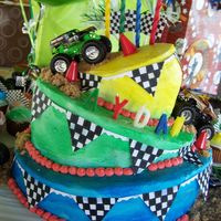 4Th Birthday Monster Jam Cake My awesome twin sister made this cake for my son's 4th Birthday Party. He is a huge Monster Jam Trucks fan, so she did an amazing job...