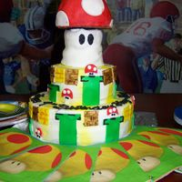 Mario Brothers Cake Yes, my awesome sis made this cake, too! This is one of my favorites! She did such an awesome job on this, very good detail. It is mostly...