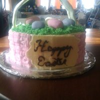Easter Basket 9 in round w bc ,chocolate sign and fondent handle