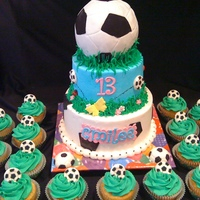 Soccer Birthday Cake 8 and 6' WASC iced with buttercream with fondant accents,and matching cupcakes, small soccer calls were store bouight