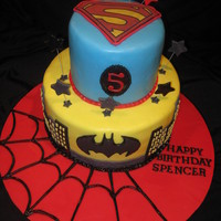 Super Hero Cake 10,6, all fondant with fondant/tylose accents. thanks for all the inspiration here on cc for this cake.