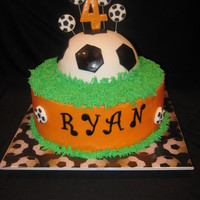 Soccer Cake buttercream, with fondant accents.