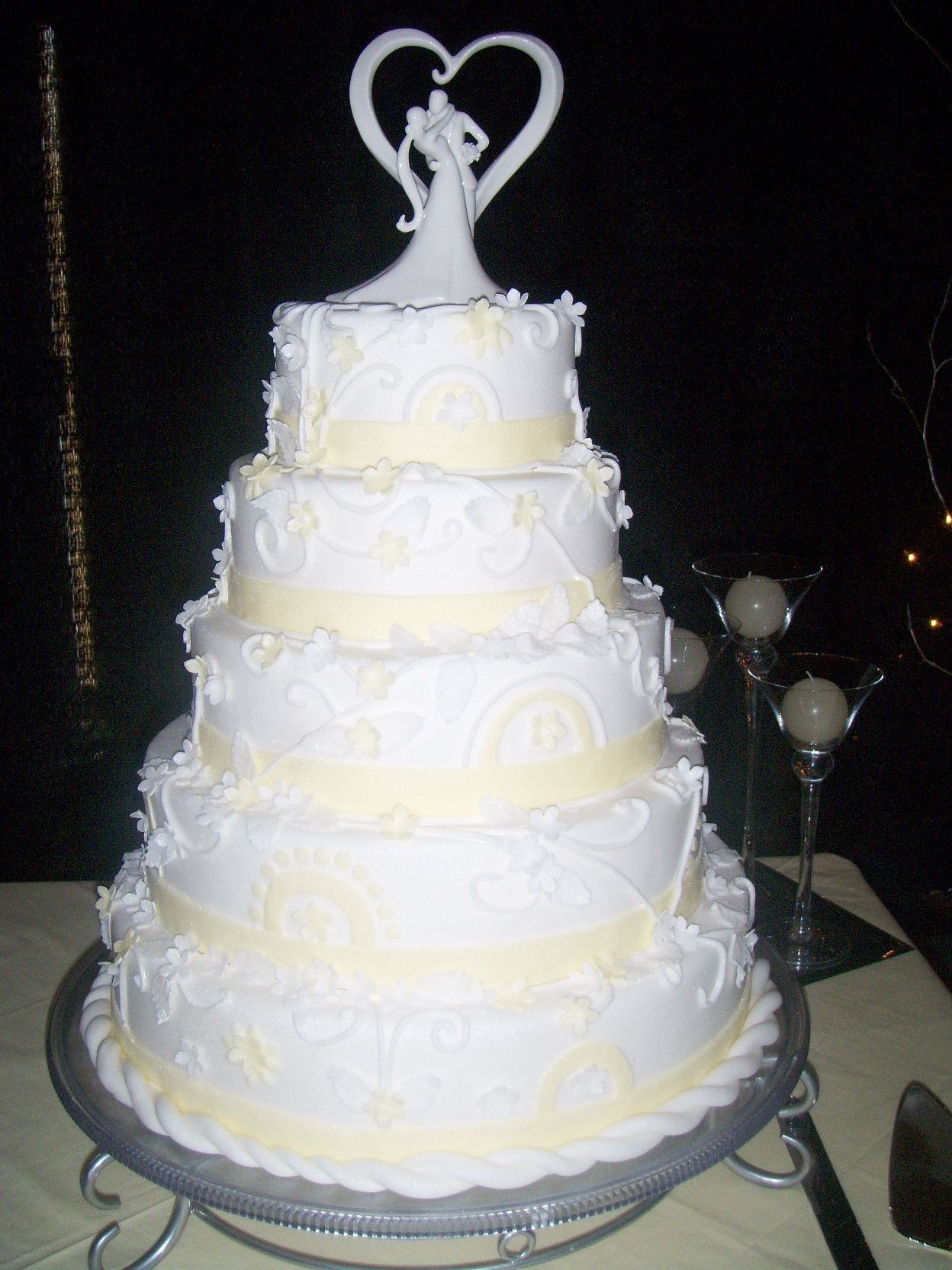 "Yellow And White Wedding Cake Bride wanted a pattern that she saw out of a book(but it was made out of chocolate)and wanted me to make it my ""own""This is the..."