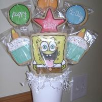 Joey's Birthday Bouquet I made this bouquet for my son's friends birthday. He was having a Sponge Bob party so I just copied the invitation. I am really...