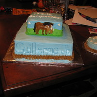 Horse And Foal Cake i made this for my nephew. all buttercream