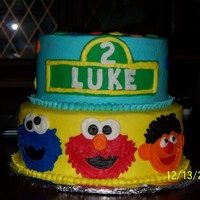 Sesame Street customer gave me a picture of a cake that looked exactly like this except all fondant....i only do buttercream so this is all bc and she...