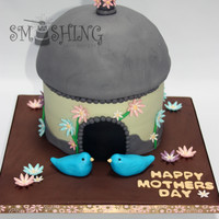 "Bird House This cake was made for a Mother's Day celebration at a local retirement home. Everything is edible. Bottom is 3 - 8"" rounds, I..."