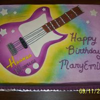 Hannah Montana Guitar Cake   The guitar is made of fondant and airbrushed.