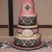 "Pink And Black Damask Print This cake was a ""repeat"" from another CC'er! and I tried it for a wedding... it was one of the hardest cakes I have done ....."