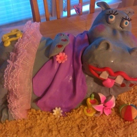 Beach Bum - Hippo Cake Body is cake - head is RK - covered in MMF - accents are gumpaste - TFL