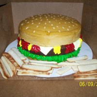 "Cheeseburger & Fries ""Buns"" are 8 inch yellow cake frosted with tinted buttercream. ""Burger"" is a brownie that I baked in an 8 inch pan. &..."