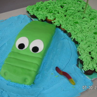 Crocodile Cake The crocodile was made from the car pan and I just shaped it a little. I had two big boards that I pieced together. The on with the croc is...