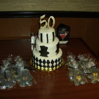 "Black, White And Gold 50Th Birthday 3-tier 50th Birthday cake. All German chocolate. Black sugar cookie bears with ""50"" on bellies to match 50 topper and bears on..."