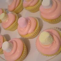 Pretty Pastels! Vanilla cupcake with buttercream icing, topped with marshmallow