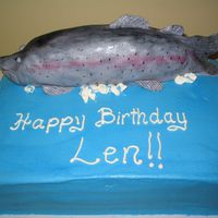 Rainbow Trout  A birthday cake for an avid fisherman. The cake is vanilla pound cake with three layers of lemon cream filling, with buttercream frosting,...