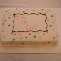 Baby Shower Cake 9x13 cake iced and decorated with decorators icing.