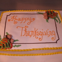 Happy Thanksgiving! 9x13 cake iced and decorated with decorators icing.