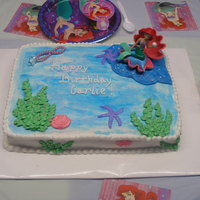 Little Mermaid Birthday! This was my daughter's 4th birthday. It is a 9x13 cake iced and decorated with decorators icing.
